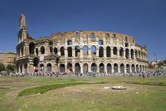 The Colosseum or Roman Coliseum, originally the Flavian Amphitheatre, an elliptical amphitheatre in the centre of the city of Rome Royalty Free Stock Images