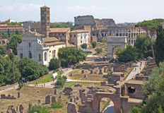 The Colosseum and Roman Forum Royalty Free Stock Photos