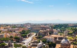 Colosseum and Roman Forum in Rome, Italy, Aerial View Royalty Free Stock Images