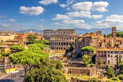 The Colosseum and Roman Forum from the Vittoriano, summer shot royalty free stock photos