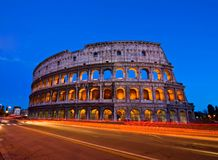 Colosseum Rome. Colosseum at dusk from in front of Metro, Rome Italy royalty free stock image