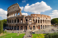 Colosseum in Rome. Tourists visiting the Coliseum in Rome on a sunny day, october 4, 2012, Italy Royalty Free Stock Photos
