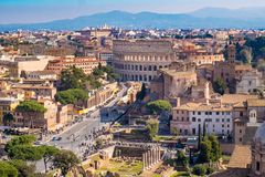 The Colosseum in Rome as seen from the air Royalty Free Stock Photo
