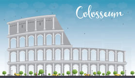 Colosseum in Rome with blue sky. Italy. Vector illustration. Royalty Free Stock Photo