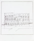 Colosseum of Rome. Hand drawn illustration of colosseum of Rome in Italy, with square frame Stock Images