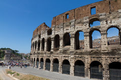 The Colosseum in Rome, Italy. With blue sky Royalty Free Stock Photo