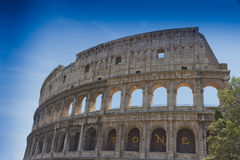 The Colosseum in Rome, Italy. Blue sky Royalty Free Stock Photos