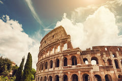 Colosseum in Rome, Italy. Beautiful view of Colosseum in Rome, Italy. Vintage filter, retro effect royalty free stock photography