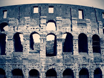 Colosseum in Rome, Italy in black and white; dramatic, retro style Royalty Free Stock Image