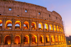 Colosseum in Rome, Italy. Detail of Colosseum illuminated at night  in Rome, Italy, toned Royalty Free Stock Photo