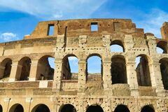colosseum in rome italy, photo as a background in old italian roman capital city, rome, italy