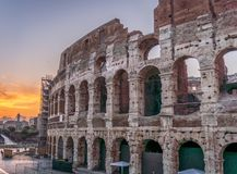 The Colosseum in Rome, Italy. Side shot of the coliseum in Rome Italy taken at sunset in summer Stock Photo