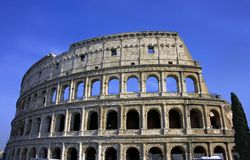 Colosseum rome italy theater antiquity. Enormous amphitheater arena gladiator Stock Photo
