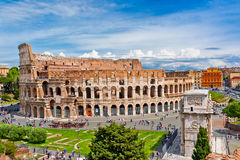 Colosseum in Rome, Italy with tourists. Stock Photos