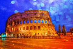 Colosseum in Rome, Italy during twilight time Stock Photography