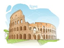 Colosseum, Rome, Italy. Vector illustration. Stock Photography