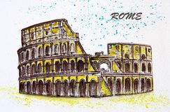 Colosseum in Rome, Italy. Watercolor drawing of the Colosseum - an ancient amphitheater in Rome, Italy. City sketch Stock Photography