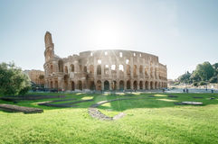 Colosseum in Rome and morning sun Royalty Free Stock Photos