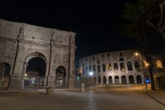 The Colosseum in Rome by Night. Italy Stock Photo