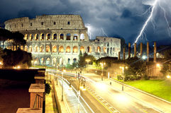 Colosseum Rome by night, lightning Royalty Free Stock Images