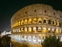 Colosseum in Rome at night royalty free stock image