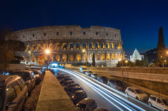 The Colosseum in Rome during night time Stock Photo