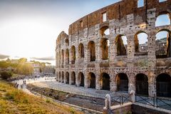Colosseum in Rome. Outdoor view of The Colosseum or Coliseum, also known as the Flavian Amphitheatre. It is an oval amphitheatre in the centre of the city of Stock Images