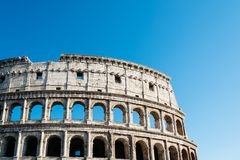 Colosseum in Rome. Outdoor view of The Colosseum or Coliseum, also known as the Flavian Amphitheatre. It is an oval amphitheatre in the centre of the city of Royalty Free Stock Photos