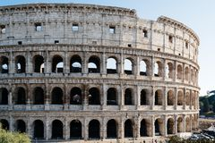 Colosseum in Rome. Outdoor view of The Colosseum or Coliseum, also known as the Flavian Amphitheatre. It is an oval amphitheatre in the centre of the city of Stock Photos