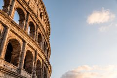 Colosseum in Rome. Outdoor view of The Colosseum or Coliseum, also known as the Flavian Amphitheatre. It is an oval amphitheatre in the centre of the city of Stock Photo