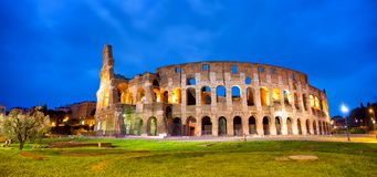 Colosseum in Rome. Panorama at dusk, Italy royalty free stock image