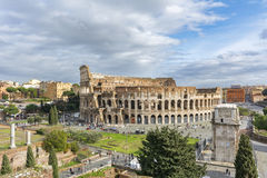 Colosseum in Rome. People visiting the Colosseum in Rome, Italy. The Colosseum is a most popular tourist attraction in Rome Royalty Free Stock Photography