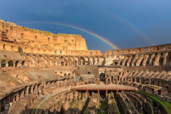 Colosseum in Rome with rainbows Royalty Free Stock Photography