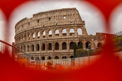 Colosseum Rome in the red photogram. Royalty Free Stock Photos