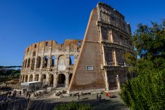 Colosseum Rome. Travel to Italy, Europe. Colosseum Rome. Ruins of the  ancient Roman amphitheatre. Travel to Italy, Europe. Crowd and queue. Sunny day and blue Stock Image