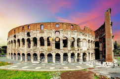 Colosseum in Rome at sunset Royalty Free Stock Image