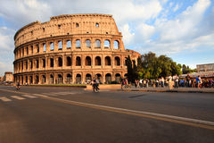 Colosseum in Rome in sunset sunlight Stock Photos