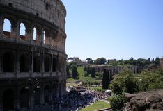 Colosseum in Rome. The Colosseum is today the most recognisable of Rome's Classical buildings. It was the first permanent amphitheatre to be raised in Rome Royalty Free Stock Photo
