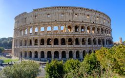 Colosseum Rome. Travel to Italy, Europe. Colosseum Rome. Ruins of the  ancient Roman amphitheatre. Travel to Italy, Europe. Crowd and queue. Sunny day and blue Stock Photos