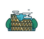 Colosseum in Rome, trees. Vector modern. Line outline flat style cartoon illustration icon. Isolated on white background.  Rome, Italy, traveling card concept Royalty Free Stock Photos