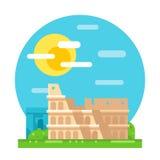 Colosseum ruin flat design landmark Stock Photography