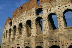 Colosseum ruins in Rome. The ruins of the Roman Colosseum during midday stock image