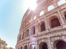 Colosseum`s best side - Rome, Italy. Amazing weather in Rome, where you can find the famous Colosseum, one of the greatest historical building in the world stock photography