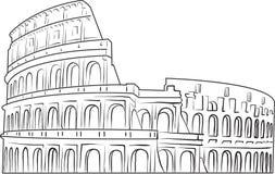 Colosseum - schwarze Entwurfsfarbe auf weißem Hintergrund Lizenzfreie Abbildung
