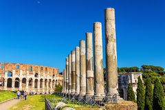 Colosseum seen from Temple of Venus and Roma. View of Colosseum from Temple of Venus and Roma - Italy Stock Photo