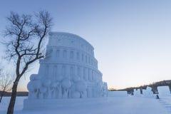 Colosseum snow Stock Photo