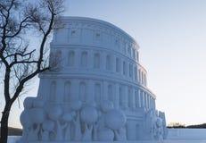 Colosseum snow Stock Photography