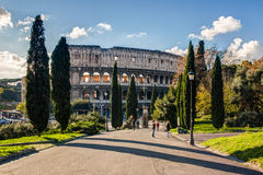 Colosseum in a sunny day, original view, Rome Stock Image