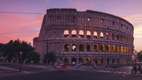 ROME, ITALY - 18 JUN, 2019 - Timelapse of the Colosseum in Rome at dawn in 4k stock footage