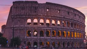 ROME, ITALY - 18 JUN, 2019 - Timelapse of the Colosseum in Rome at dawn in 4k stock video footage